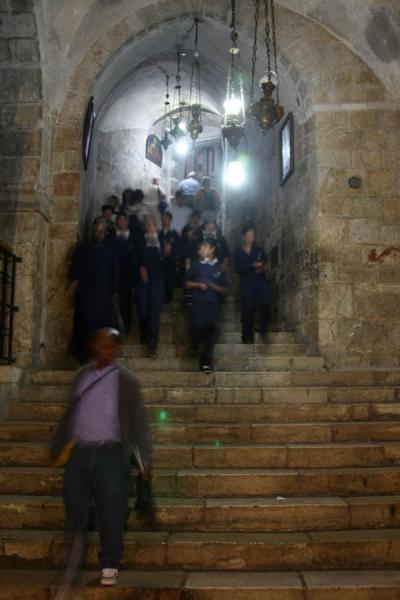Walking down the stairs to the Church of St. Helena | Church of the Holy Sepulchre | Israel