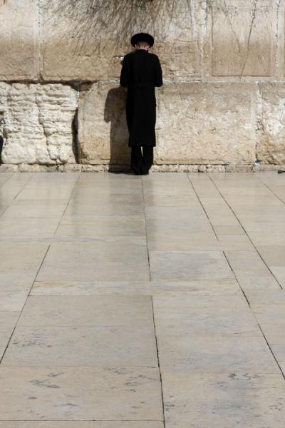 Picture of Western Wall (Israel): Western Wall: lone Jew in prayer
