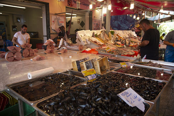 Picture of Stand selling fish at Ballarò market in AlbergheriaPalermo - Italy