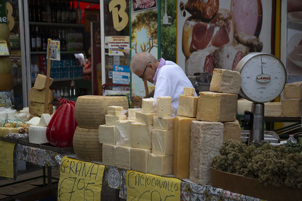 Picture of Cheese selling stand at Ballarò market in AlbergheriaPalermo - Italy