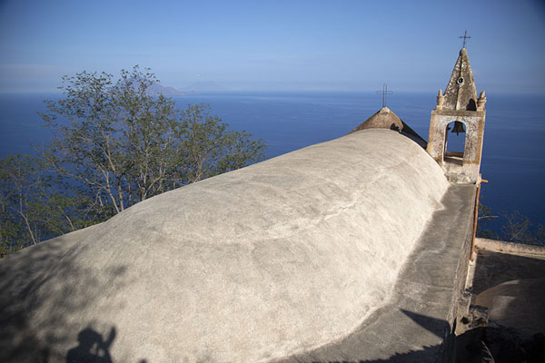Foto van The roof of San Bartolo church on Alicudi islandAlicudi - Italië