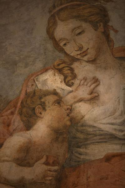 Foto di Detail of a fresco painting in the museum inside the Baths of DiocletianRoma - Italia