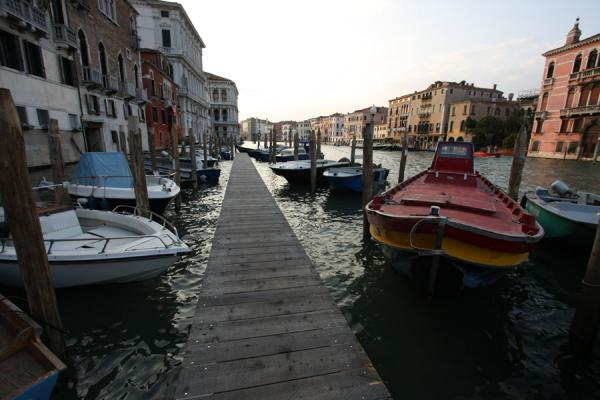Picture of Canal Grande (Italy): Moored boats on the Canal Grande in the early evening