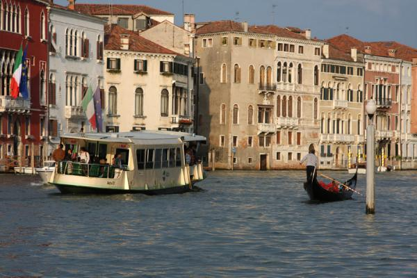 Picture of Canal Grande (Italy): Public transport and gondola on the Canal Grande in the early spring evening