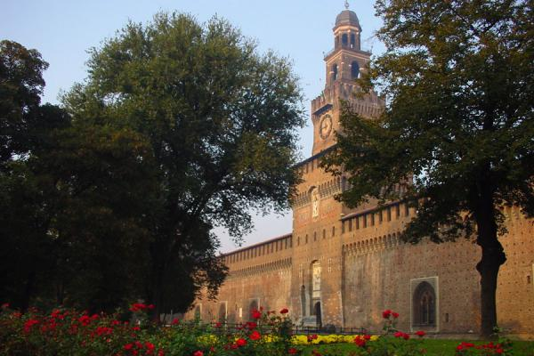 Picture of Castello Sforzesco (Italy): Filarete, the central tower of the Castello Sforzesco, seen from outside