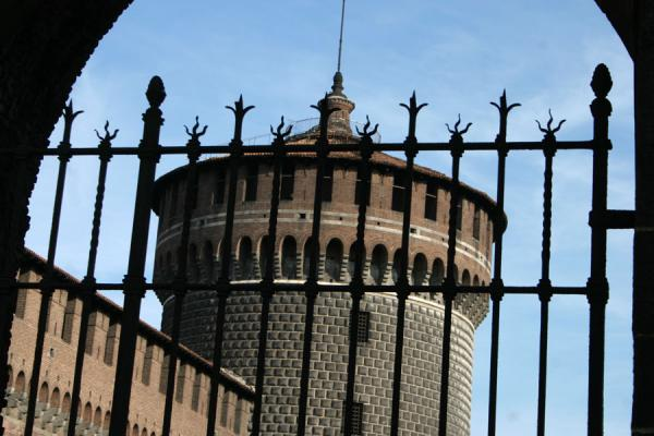 Picture of One of the cylindrical towers of Castello Sforzesco