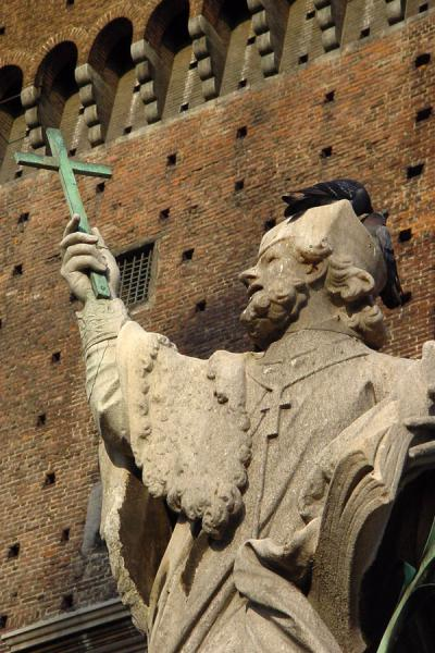 Statue of saint in front of the inner tower of Castello Sforzesco | Castello Sforzesco | Italy