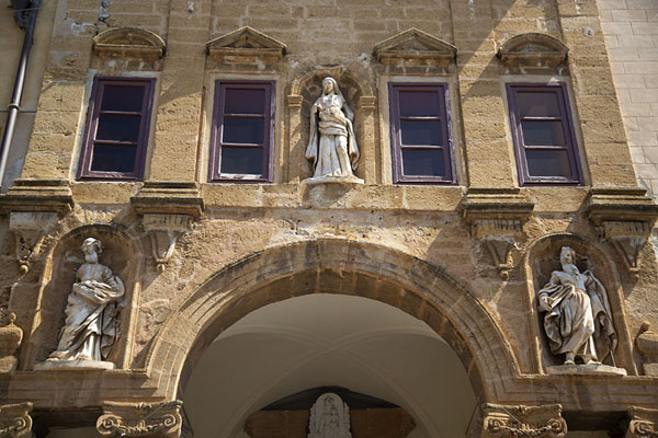 Picture of Close-up of church in Cefalù with statues - Italy - Europe