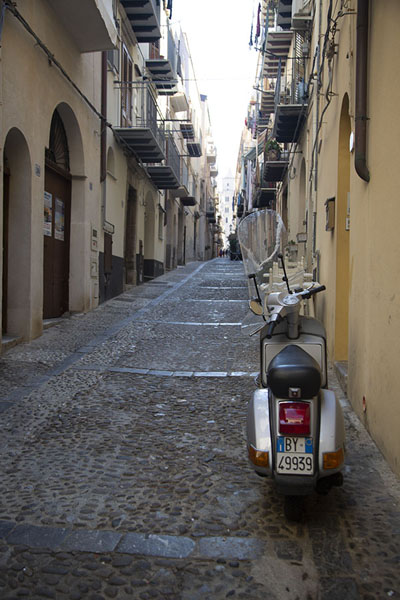 Street with Vespa in Cefalù | Cefalù | Italia