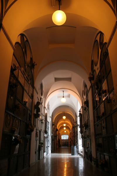Corridor under the principal building of the Cimitero Monumentale | Monumental Cemetery | Italy