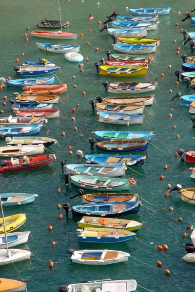 Picture of Cinque Terre (Italy): Boats in harbour of Vernazza, Liguria