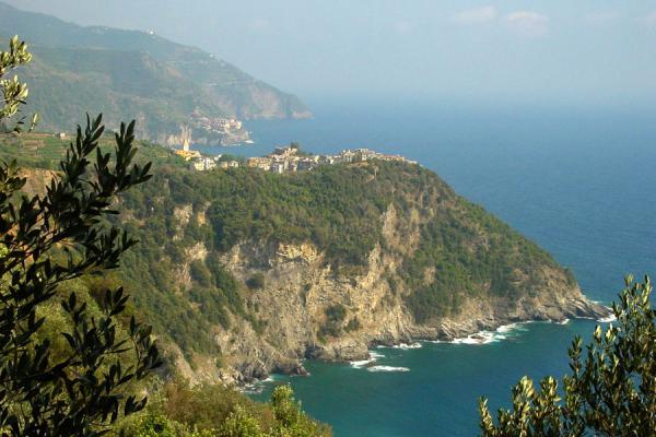 Picture of Cinque Terre (Italy): Corniglia perched on hill above sea, Cinque Terre
