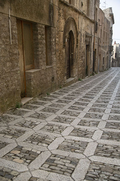 Street with stone patterns in Erice | Erice | Italy