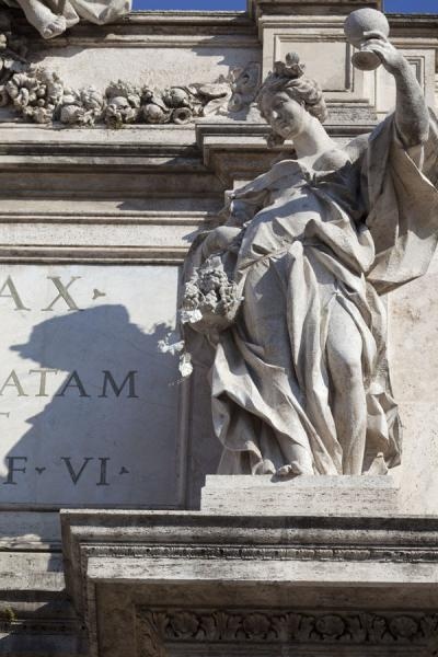 Picture of Statue of the Products of Autumn on the top frieze of the Trevi Fountain
