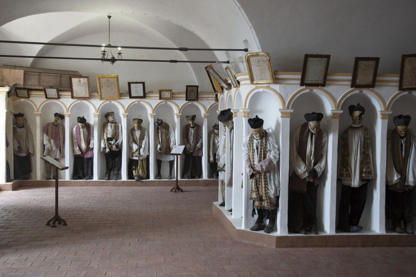 Picture of Crypt of the Chiesa Madre with mummified bodies of clerics - Italy - Europe