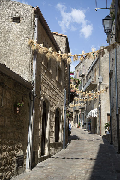 Street in Gangi with decorations of the Demeter festival of August | Gangi | Italy