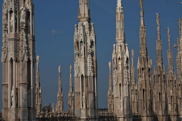 Spires with statues seen from the roof of the Duomo of Milan | Milan Cathedral | Italy