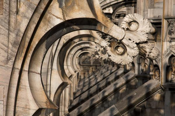 Decorations under the flying buttresses at the roof of the Duomo | Milan Cathedral | Italy
