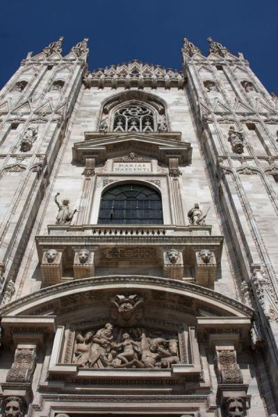 Picture of Milan Cathedral (Italy): Looking up the facade of Milan Cathedral, or Duomo