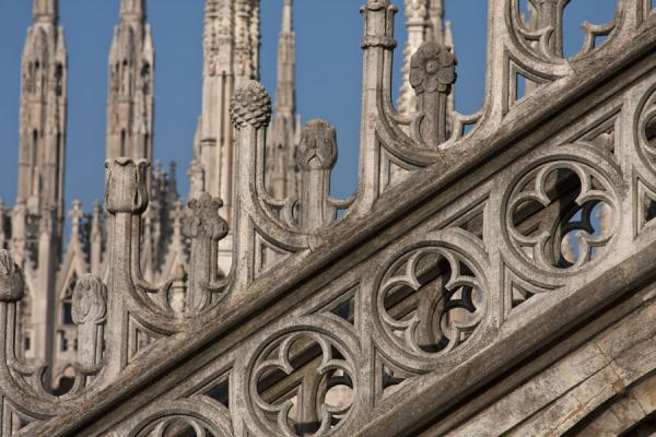 Close-up of the decorated flying buttresses near the roof of the cathedral | Milan Cathedral | Italy
