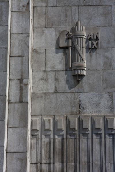 Picture of Fasces, the symbol of power dating back to the Roman Empire, on an outer wall of Milano Centrale railway station
