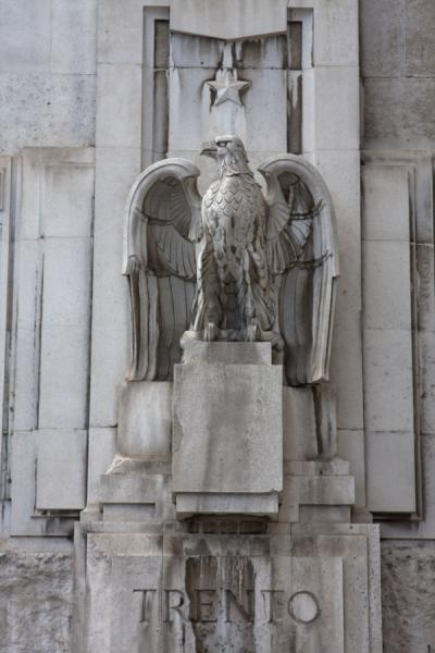 Detail of the exterior of Milan Central Station with eagle | Milan Central Station | Italy