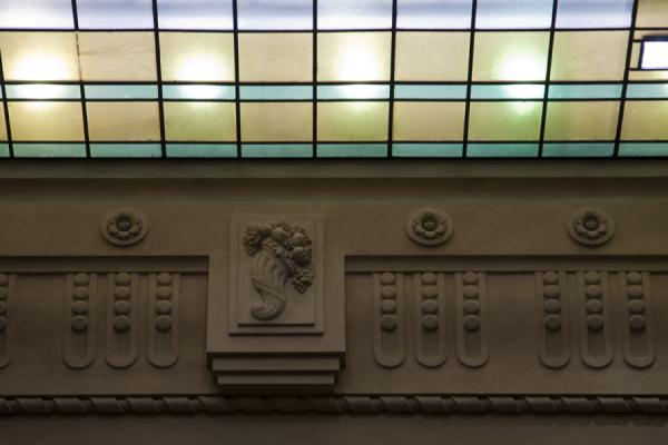 Picture of Coloured light entering the glass ceiling of Milano Centrale railway station
