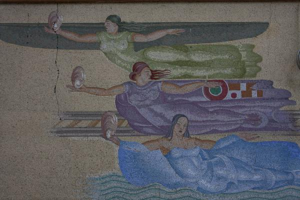Mosaics adorning the walls between the central hall and the platforms | Milan Central Station | Italy