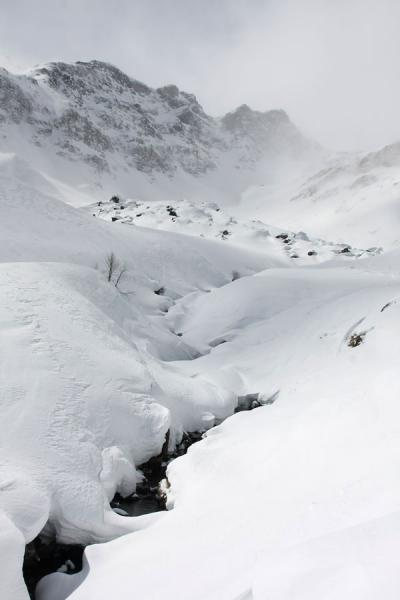 Thick layer of snow covering the landscape of Alagna valley | Monte Rosa skiing | Italy