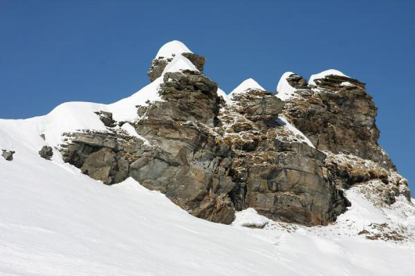 Picture of Monte Rosa skiing (Italy): Rock formation with fresh snow at Bocchetta delle Pisse