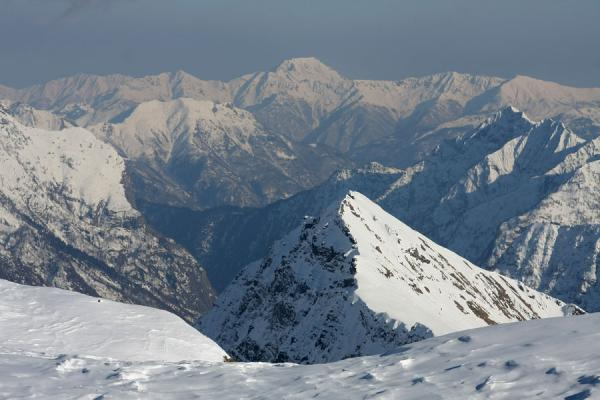 Picture of Monte Rosa skiing (Italy): Snowy mountains seen from a slope near Passo Salati