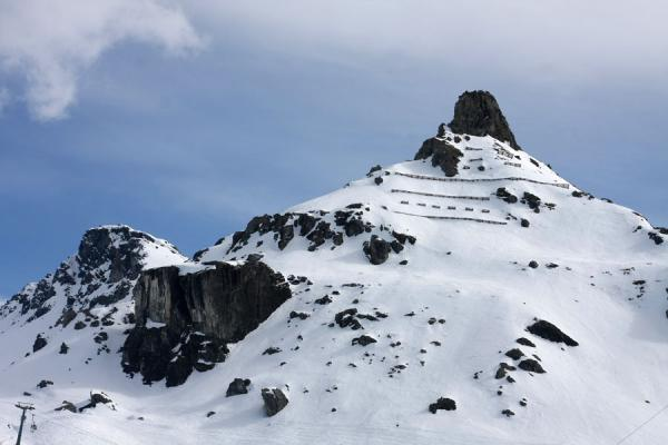 Mountain top defining the landscape of the Gressoney area | Monte Rosa skiing | Italy