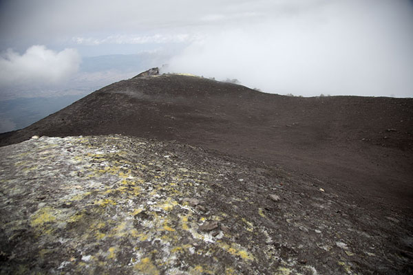 Picture of Sulphur on the ground at the rim of the Bocca Nuova, a new crater near the summit of Mount Etna - Italy - Europe
