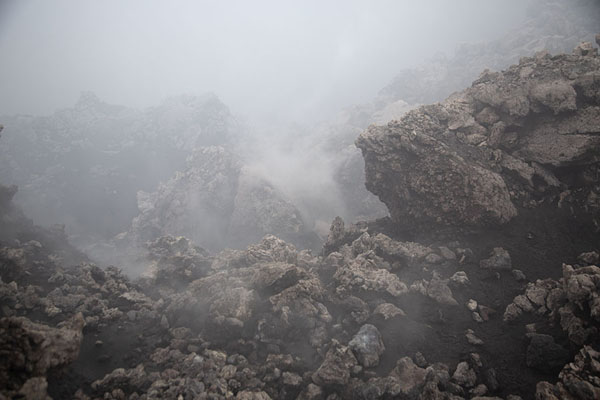 Steam and gases coming out of the new crater on the west side of Mount Etna | Mount Etna summit hike | l'Italie
