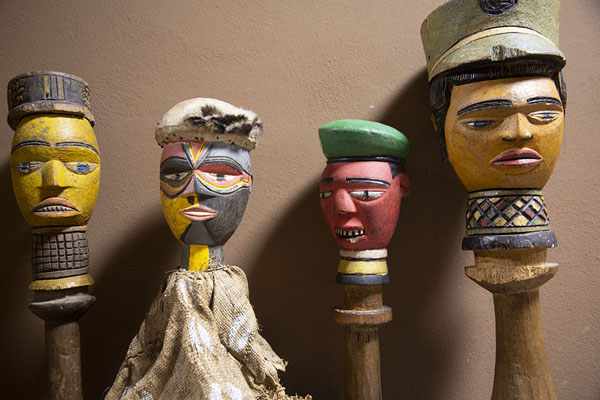 Row of puppets in the museum | Marionette Museum | Italy