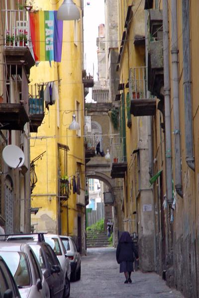 Lonely nun in one of the alleys in the old city | Naples Streets | Italy