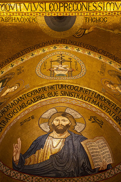 Foto di Christ Pantocrator in mosaics in the Cappella Palatina in the palacePalermo - Italia
