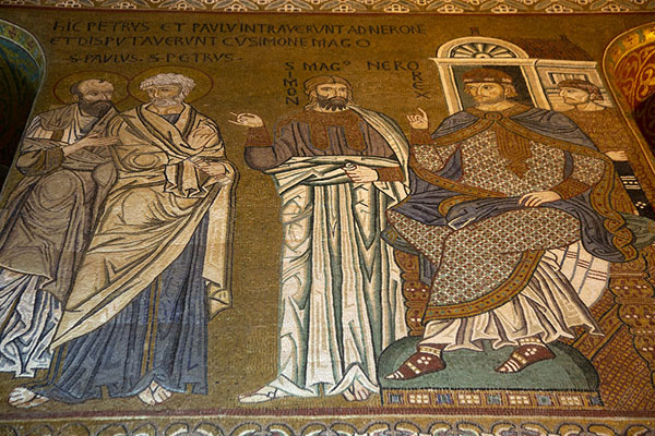 Close-up of mosaics on the wall of the Cappella Palastina | Palazzo dei Normanni | Italy
