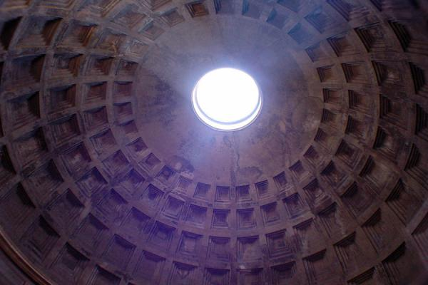 The ceiling from the inside with the oculus allowing for sunshine | Pantheon | Italy