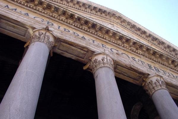 The facade of the Pantheon from below | Pantheon | Italy
