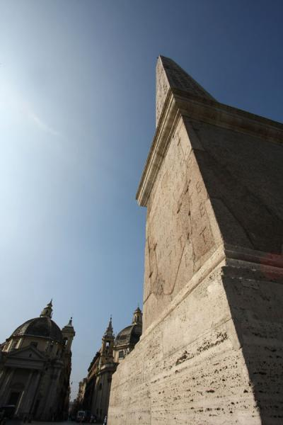 Picture of Piazza del Popolo (Italy): View from below: obelisk and Santa Maria di Montesanto