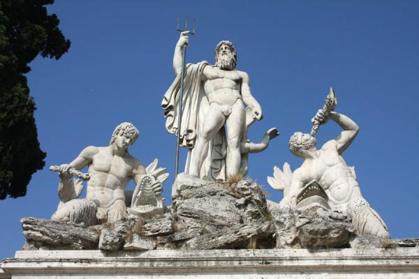 Picture of Piazza del Popolo (Italy): Foutain of Neptune on the west side of Piazza del Popolo