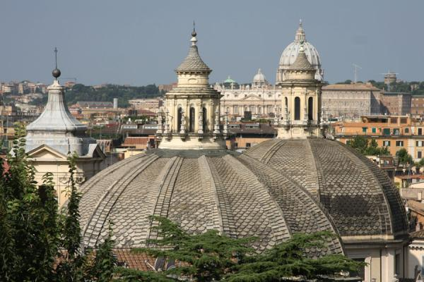 Picture of Piazza del Popolo (Italy): Cupolas seen from the top of the Pincio: Santa Maria dei Miracoli and di Montesanto, Vatican, and others