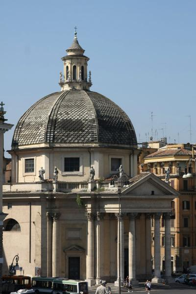 Picture of Piazza del Popolo (Italy): Santa Maria dei Miracoli seen from a distance