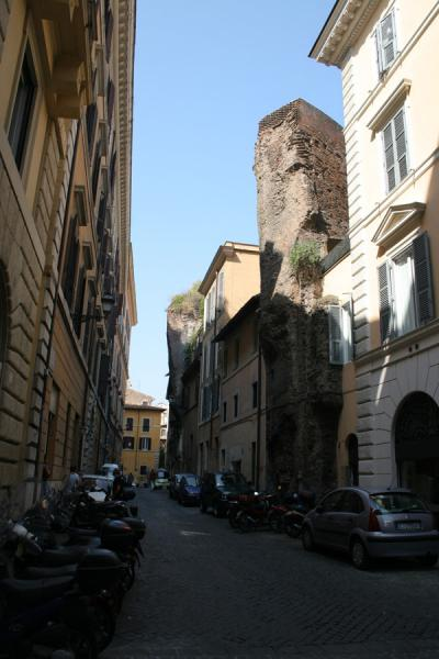 Remains of bath integrated in street in Pigna, Rome | Pigna | Italy