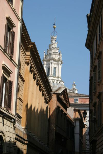 Tower towering above a street in Pigna, Rome | Pigna | Italy