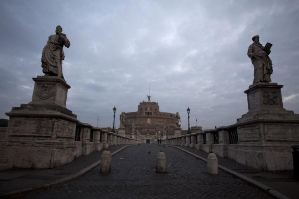 Statues and Ponte Sant'Angelo with the Castel Sant'Angelo in the background | Ponte Sant'Angelo | Italy