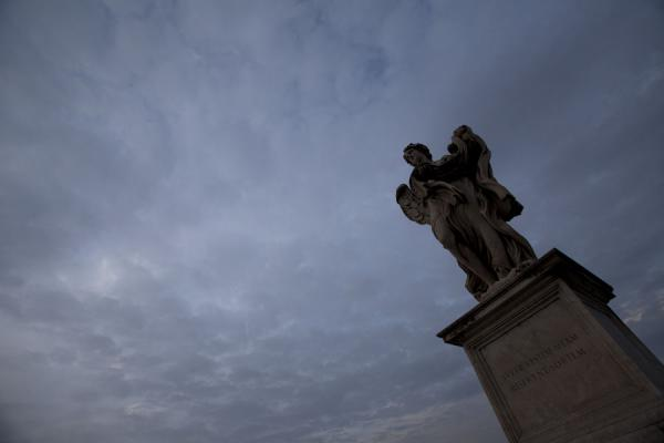 Looking up a statue of the Ponte Sant'Angelo | Ponte Sant'Angelo | Italy