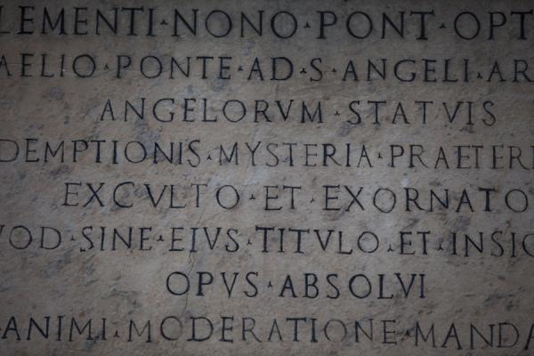 Latin text carved into the marble on the Ponte Sant'Angelo | Ponte Sant'Angelo | Italy