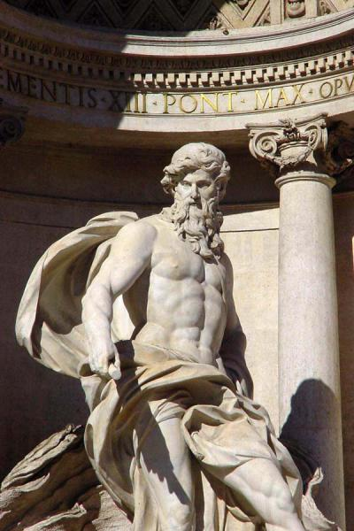 Statue overlooking Fontana di Trevi | Fountains in Rome | Italy